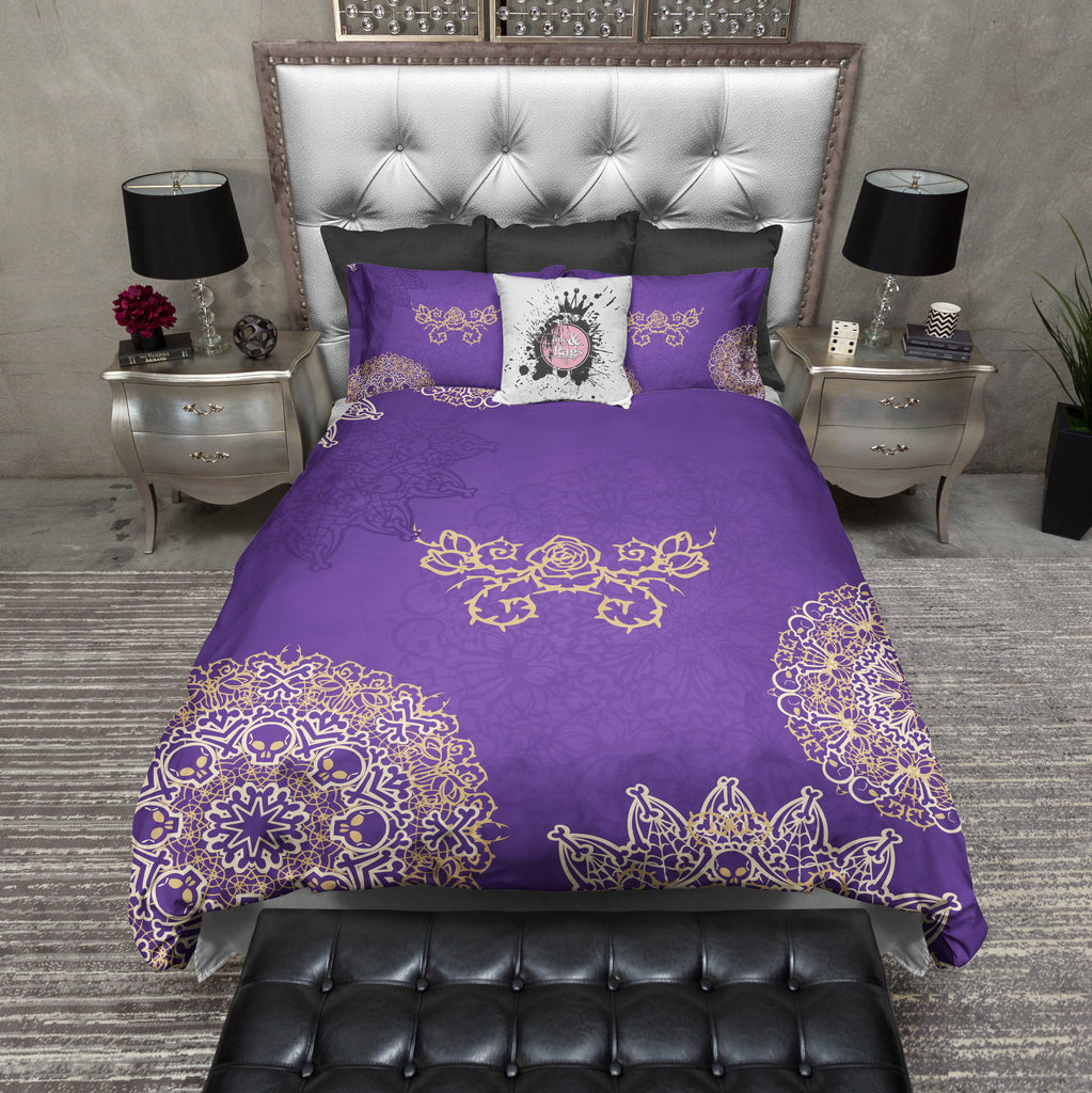Purple Mandala Skull and Bones Duvet Bedding Sets
