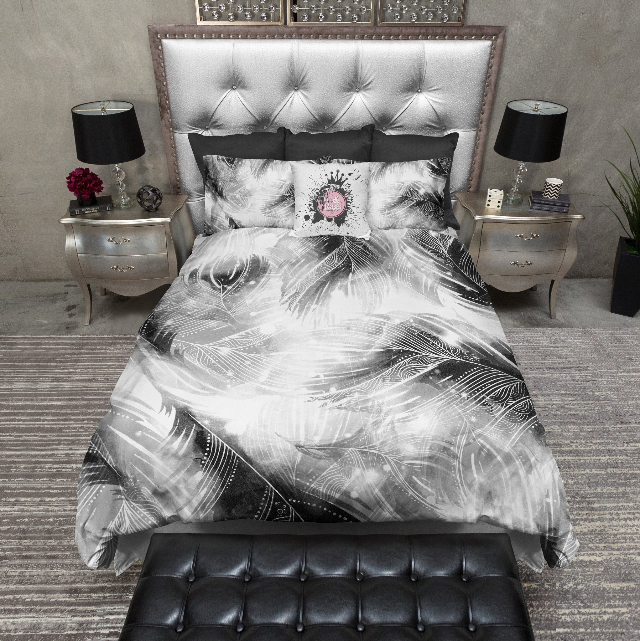 Black And White Boho Feather Bedding Ink And Rags