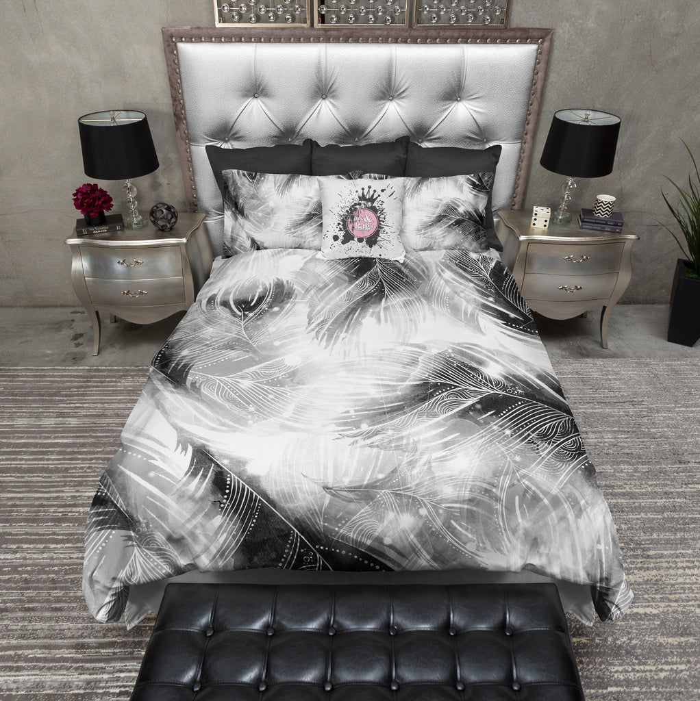 Black and White BOHO Feather Bedding Collection