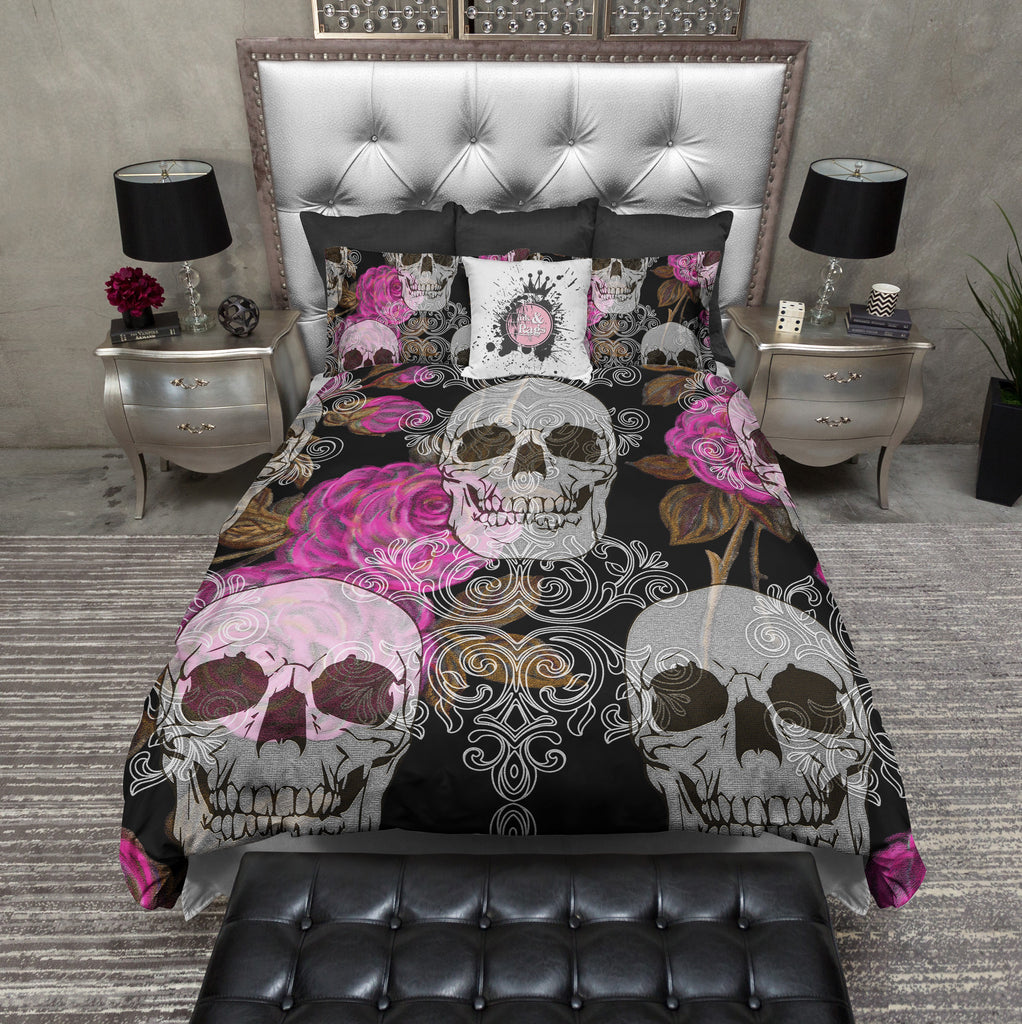 Pink Victorian Tapestries Style Skull Bedding Collection