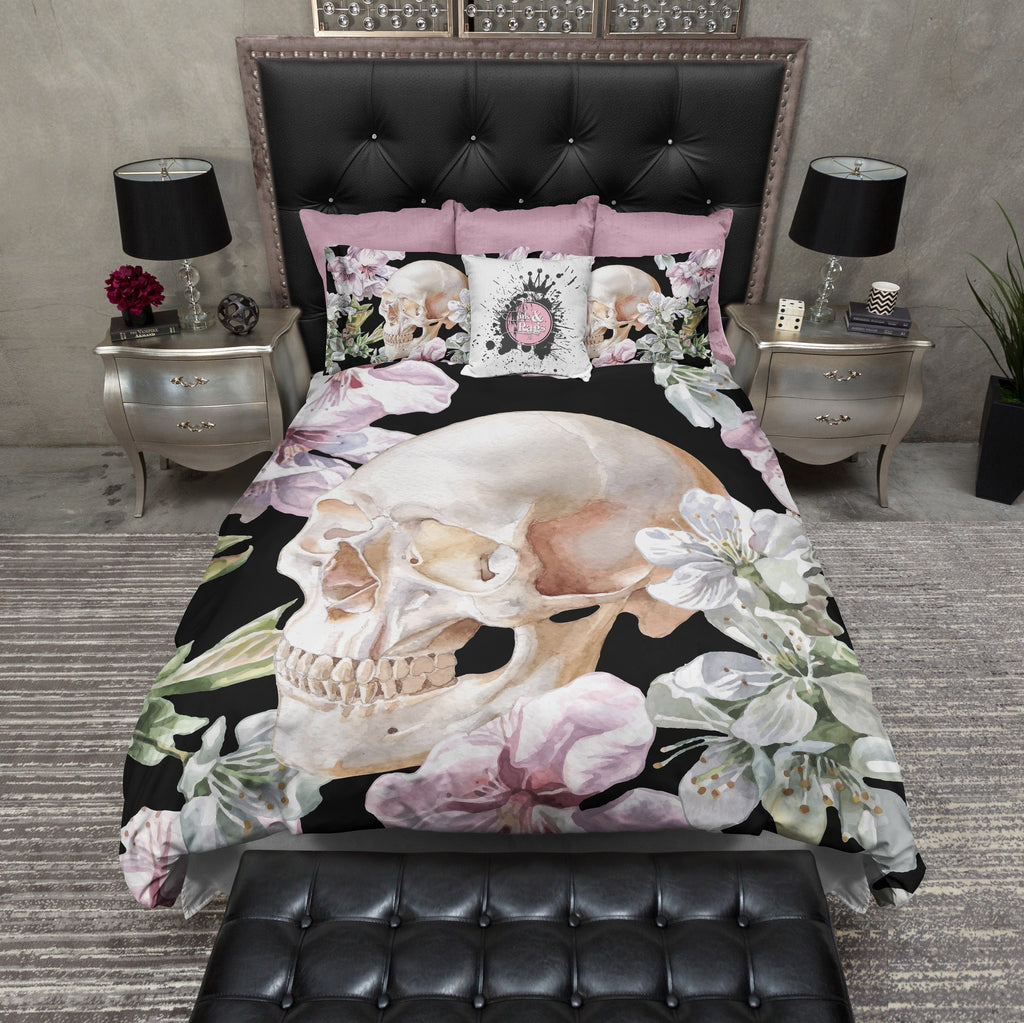 Black Floral Rose and Skull Bedding
