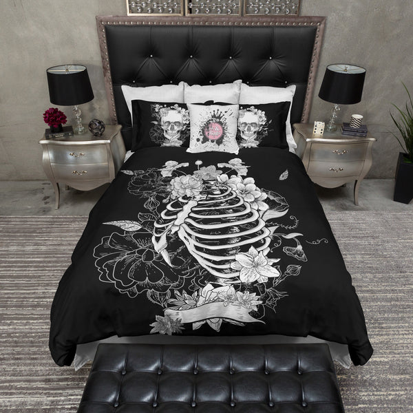 Black Flower Torso Skeleton Skull Bedding Ink And Rags