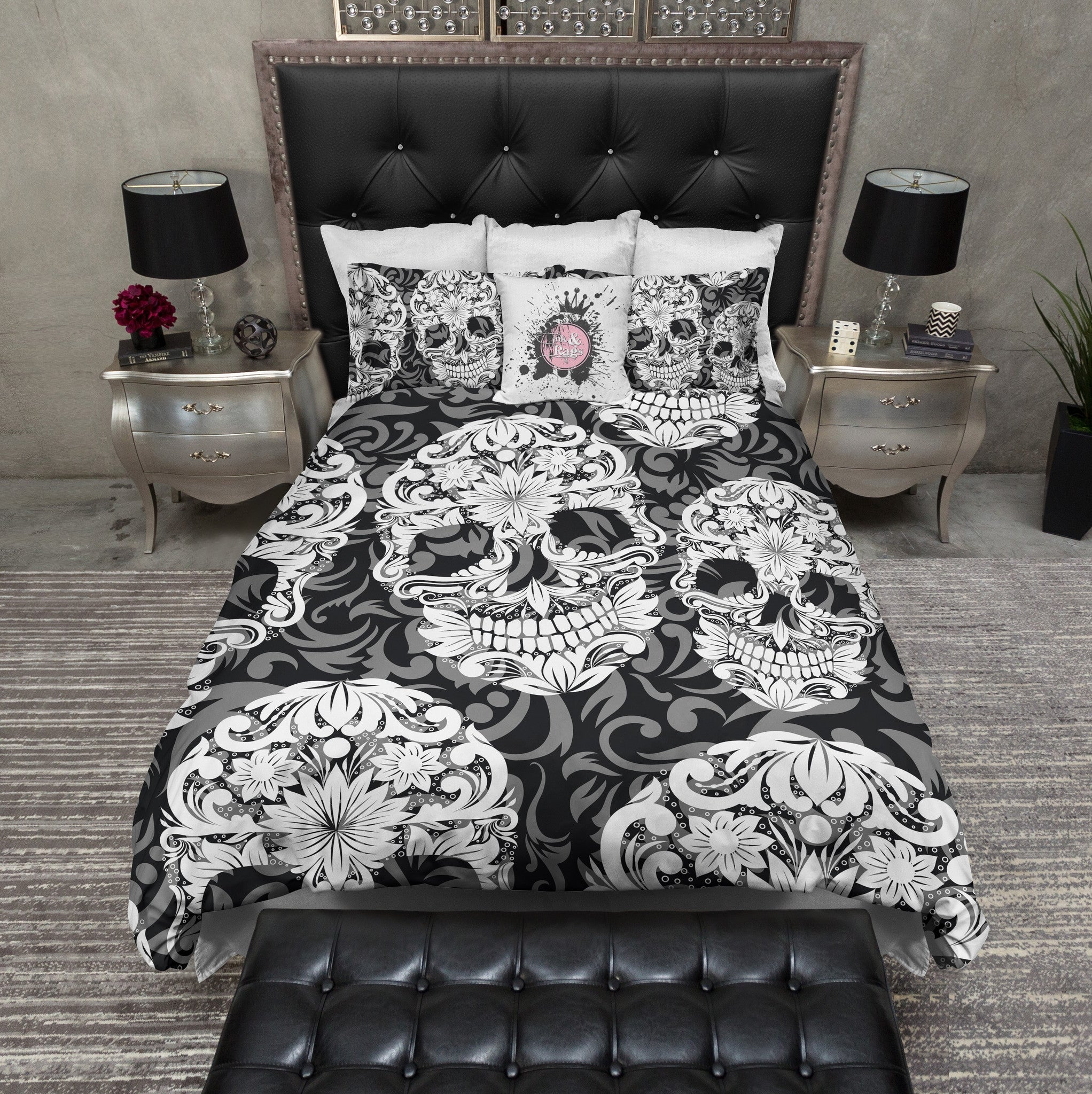 Black White and Grey Sugar Skull and Scroll Bedding Ink and Rags