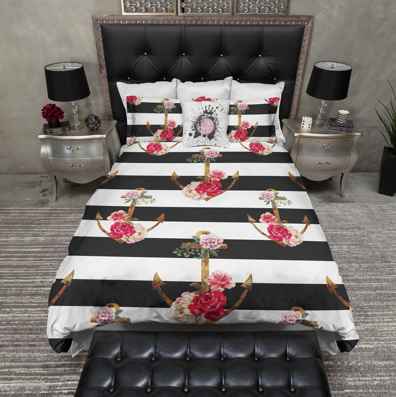 Black Stripe Watercolor Flower Anchor Bedding