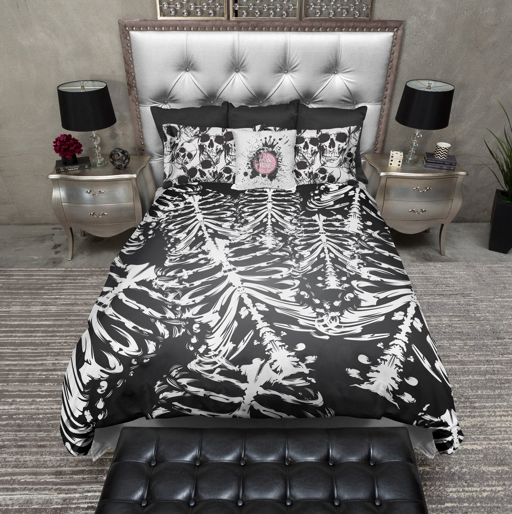 Black and White Skull and Torso Skeleton Bedding Collection