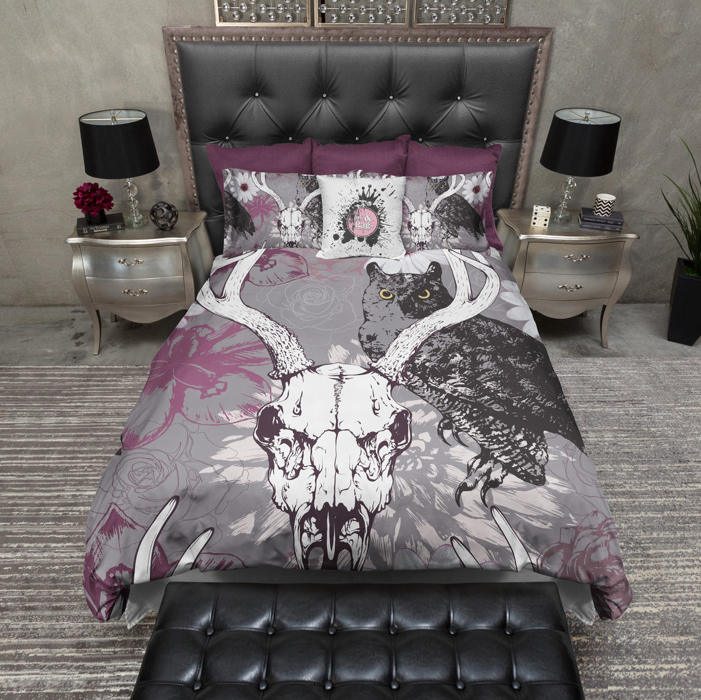 Buck Skull with Owl and Purple Flowers Bedding Collection