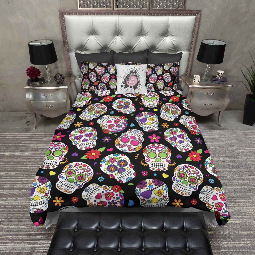 Day of the Dead Sugar Skull Bedding - Ink and Rags