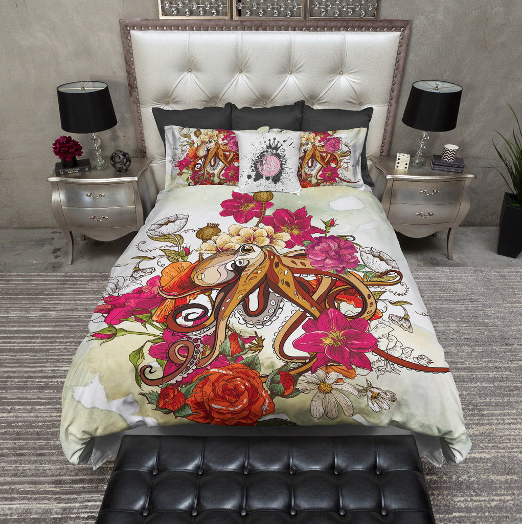 Octopus and Flowers Bedding