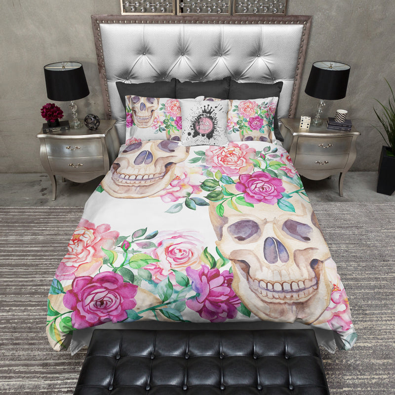 Peach and Pink Rose Skull Bedding
