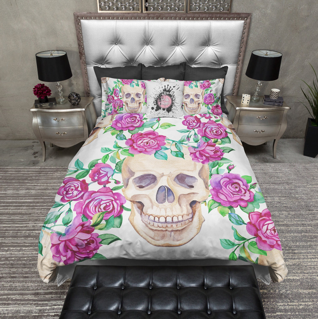 Pink Rose Skull Bedding Collection