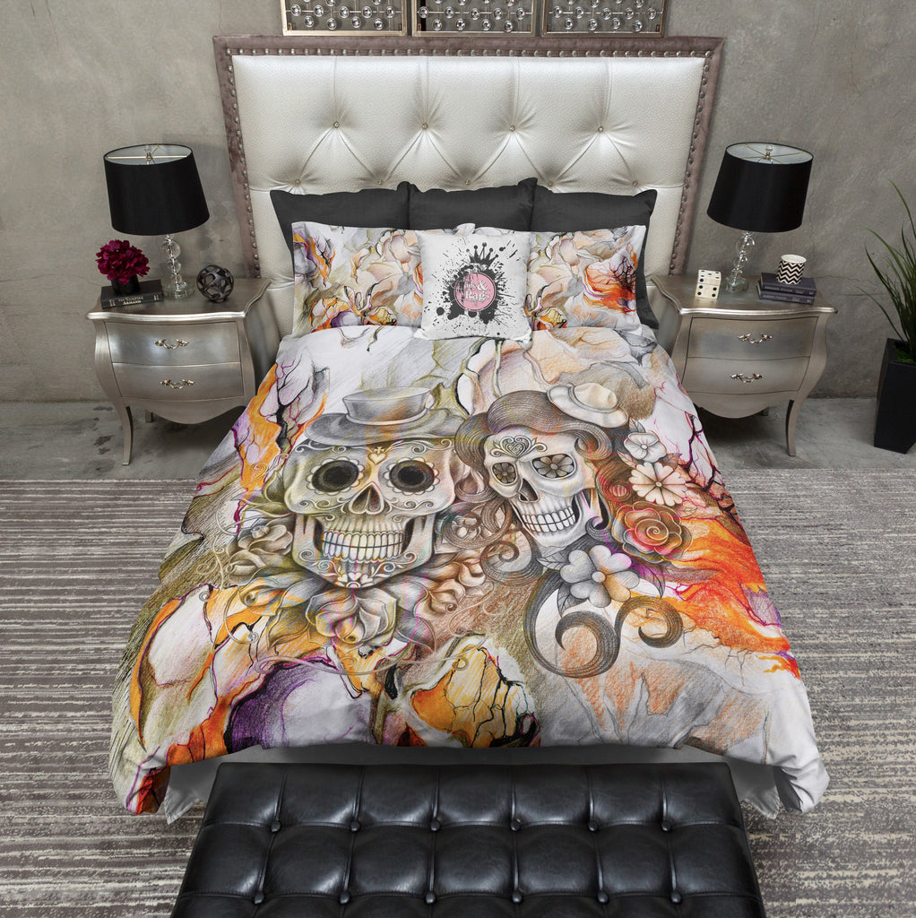 Abstract Pencil Sketch Flower and Sugar Skull Bedding