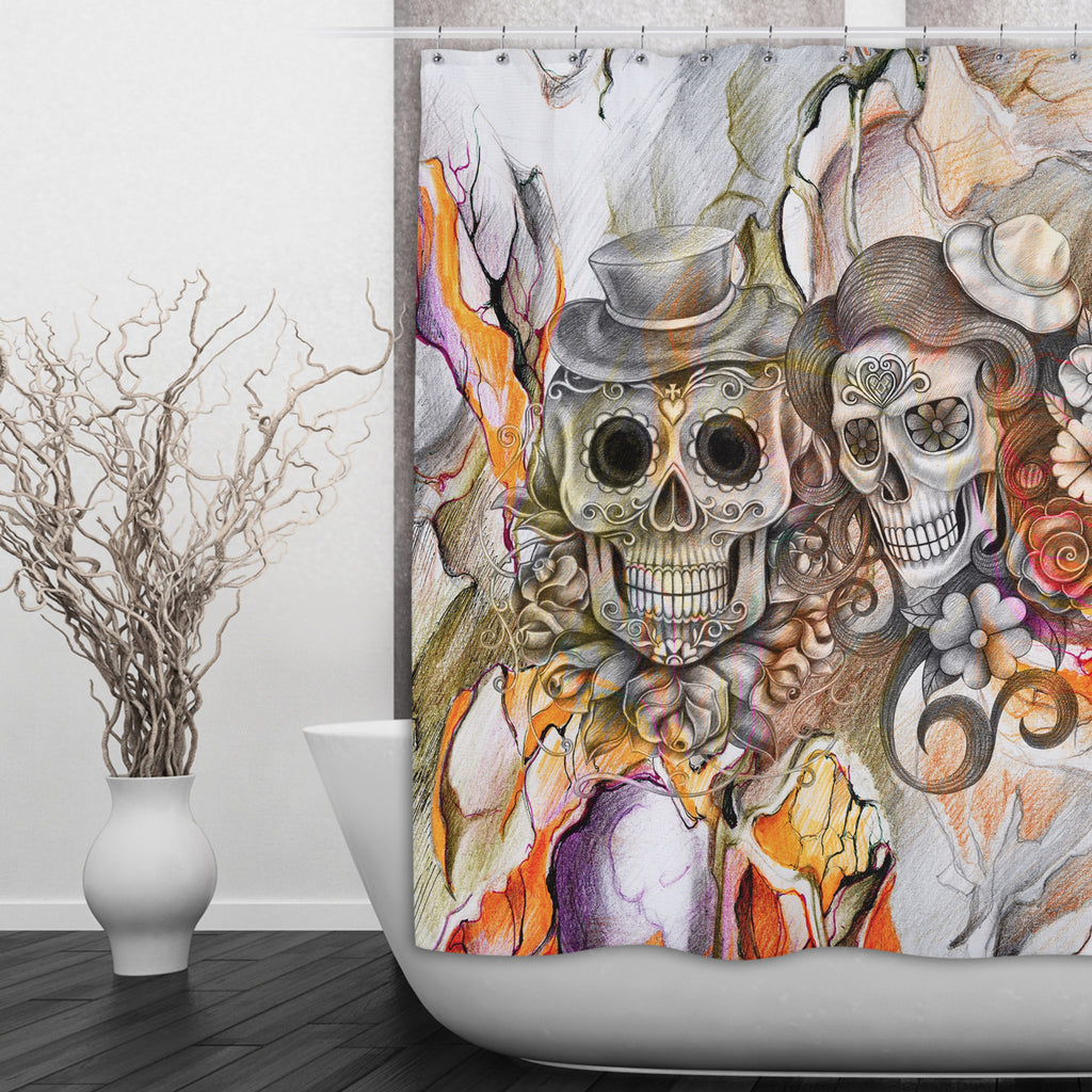 Abstract Orange Pencil Sketch Flower and Sugar Skull Shower Curtains and Optional Bath Mats