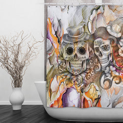 Abstract Orange Pencil Sketch Flower And Sugar Skull Shower Curtains Bath Mats