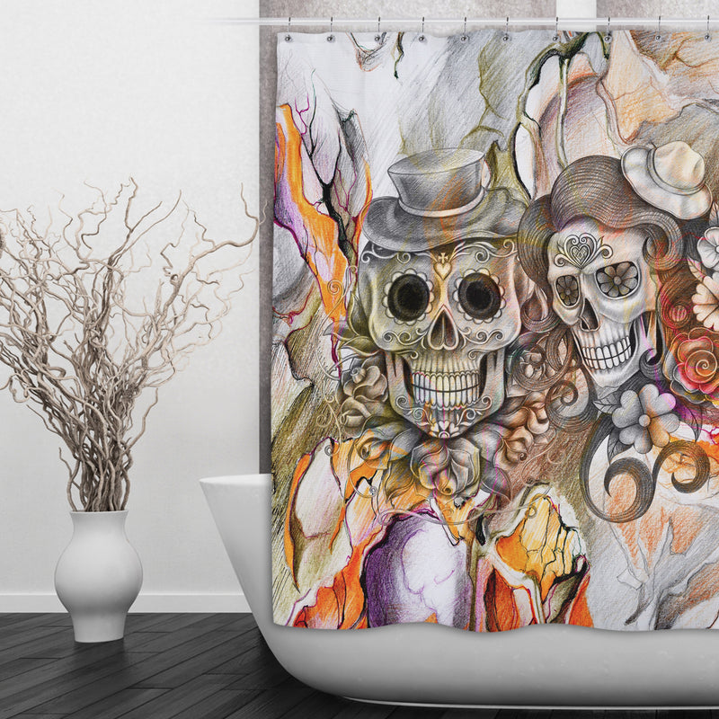 Abstract Orange Pencil Sketch Flower and Sugar Skull Shower Curtain and Bath Mat