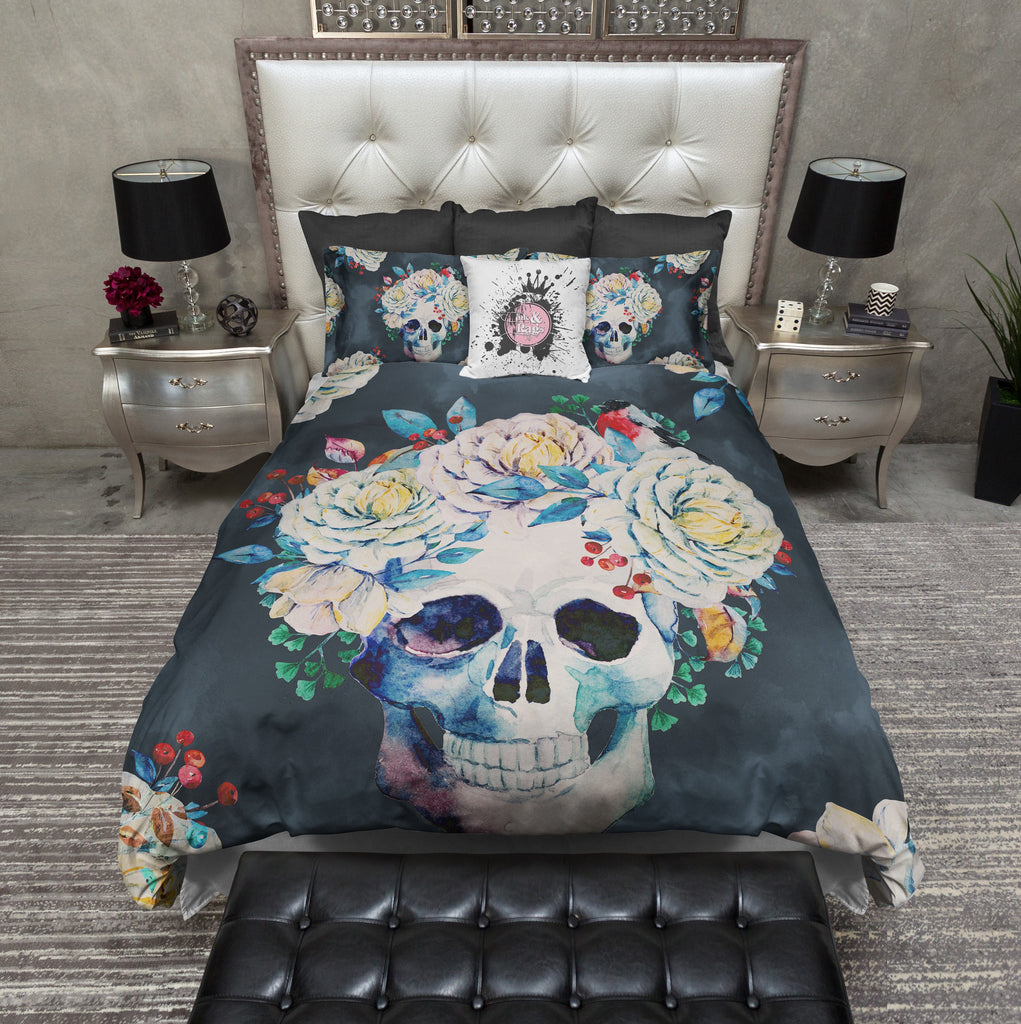 Vintage Slate Flower Skull Bedding Collection