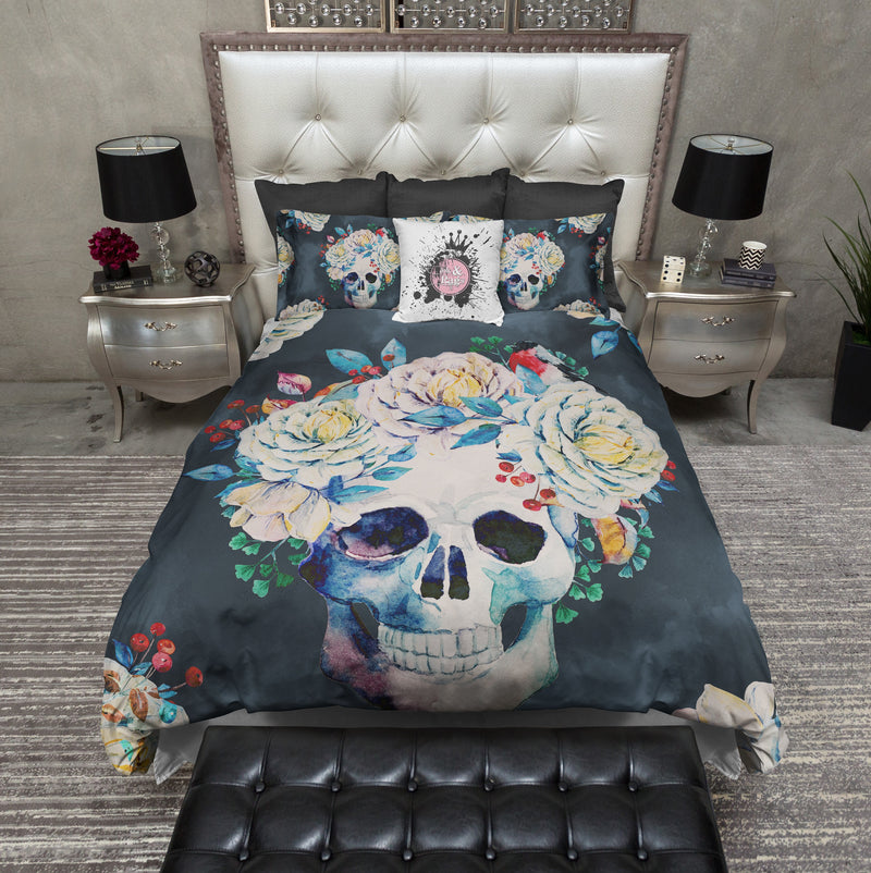 Vintage Slate Flower Skull Duvet Bedding Sets