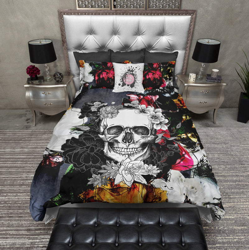 Abstract Colorful Flower Skull Bedding