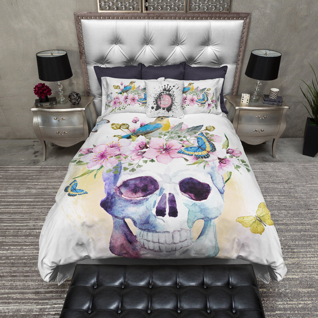 Bird Flower and Skull Duvet