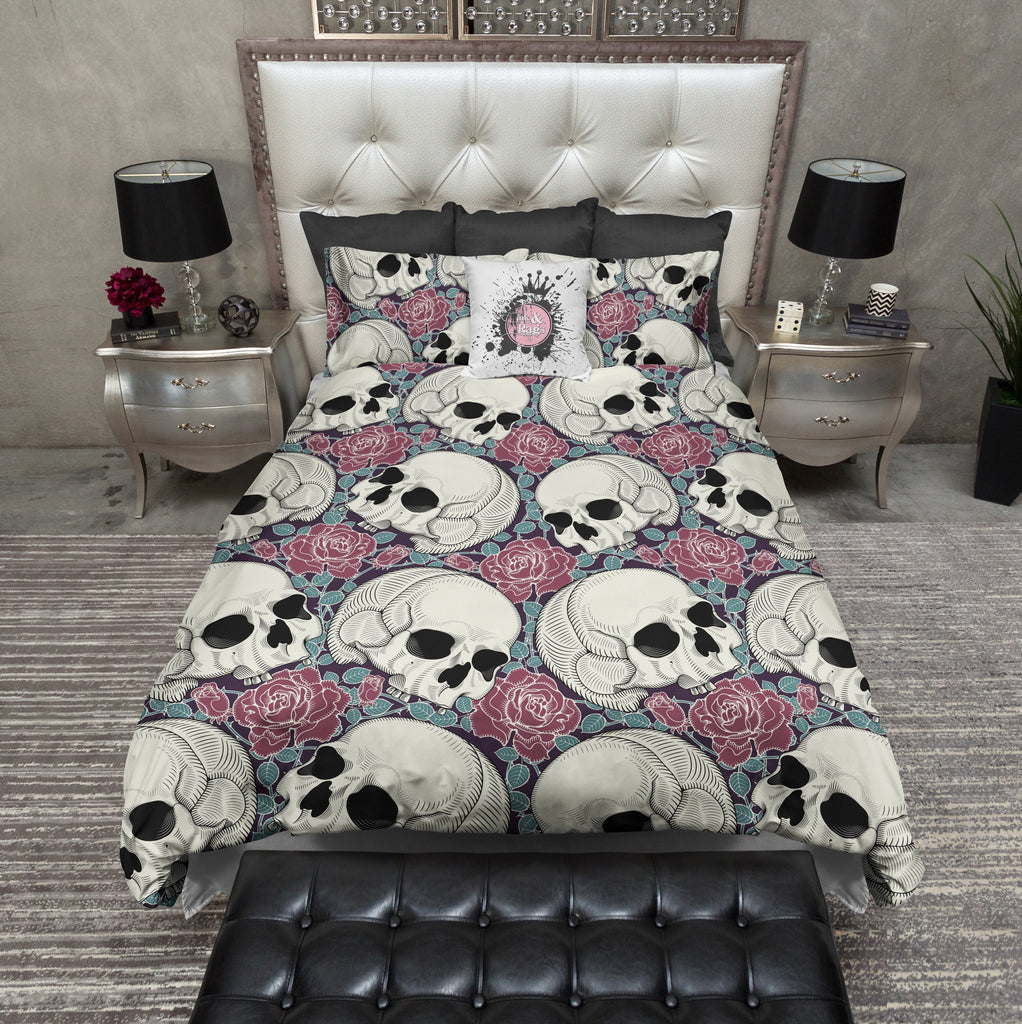 Teal Leaf and Red Rose Skull Bedding CREAM