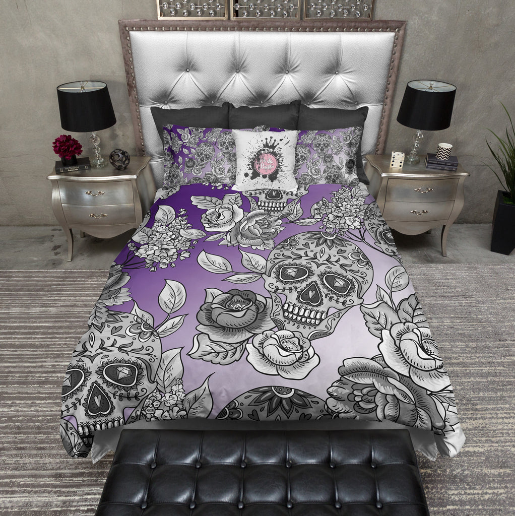 Dip Dyed Purple Ombre Sugar Skull Bedding