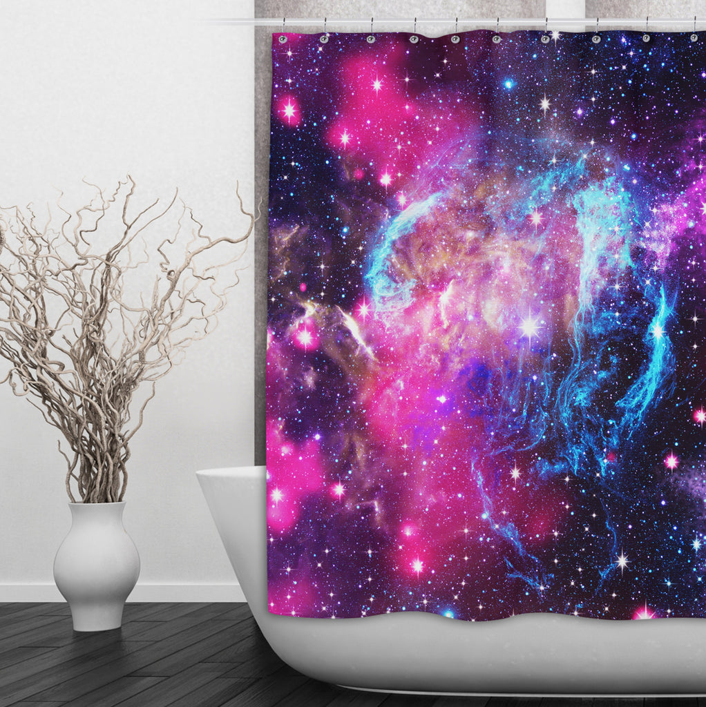 Pink Galaxy Nebula Shower Curtain