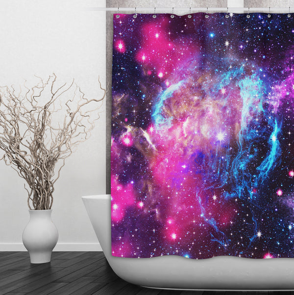 Pink Galaxy Nebula Shower Curtains and Bath Mats