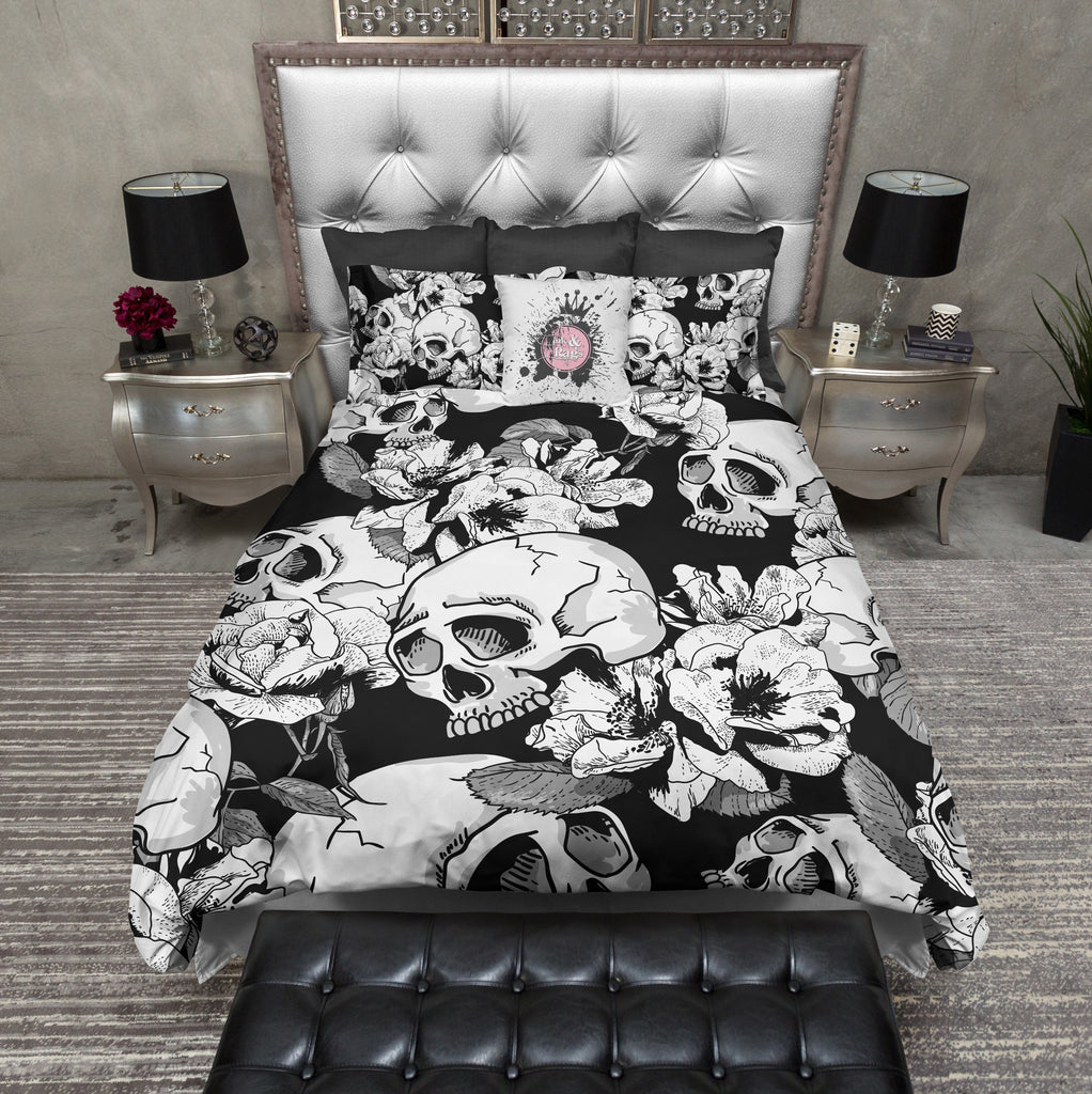 Black and White Flower Skull Bedding Collection