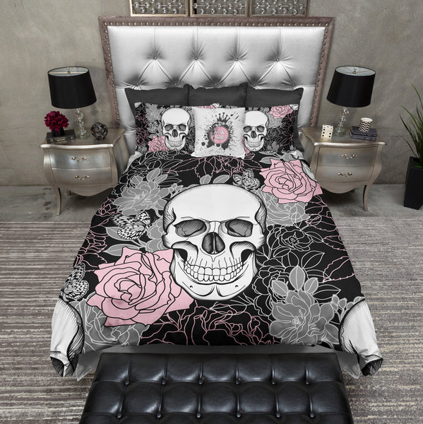 Pink And Grey On Black Flower Skull Duvet Bedding Sets