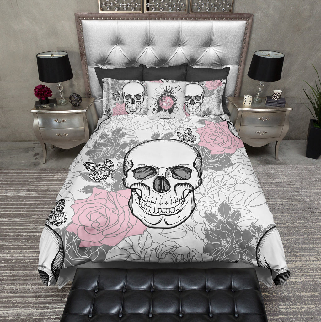 Pink and Grey on White Flower Skull Duvet Bedding Sets
