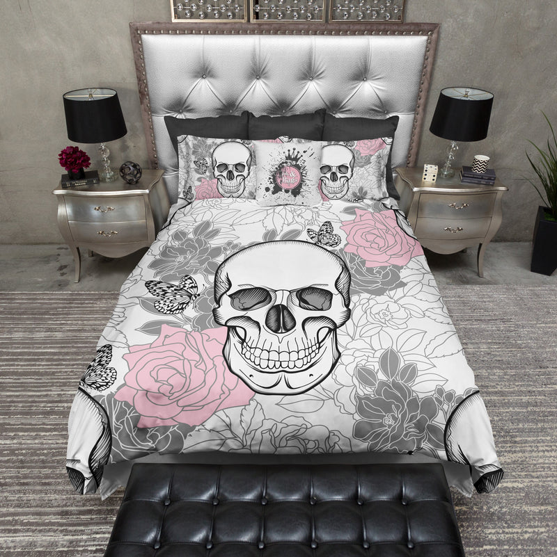 Pink and Grey on White Flower Skull Bedding
