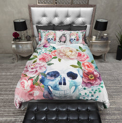 Spring Watercolor Flower Skull Bedding