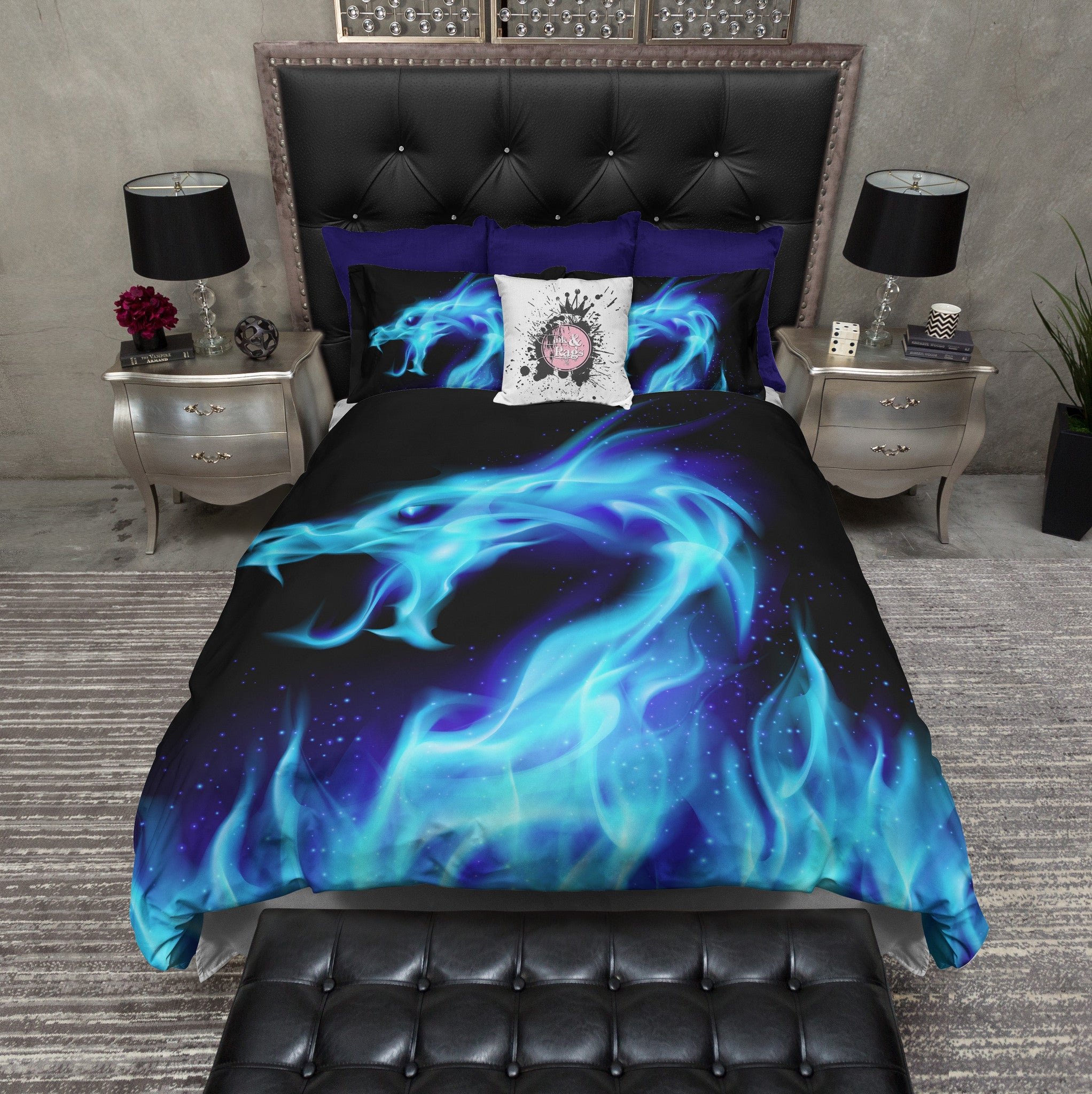 Blue Flame Dragon Bedding Ink And Rags