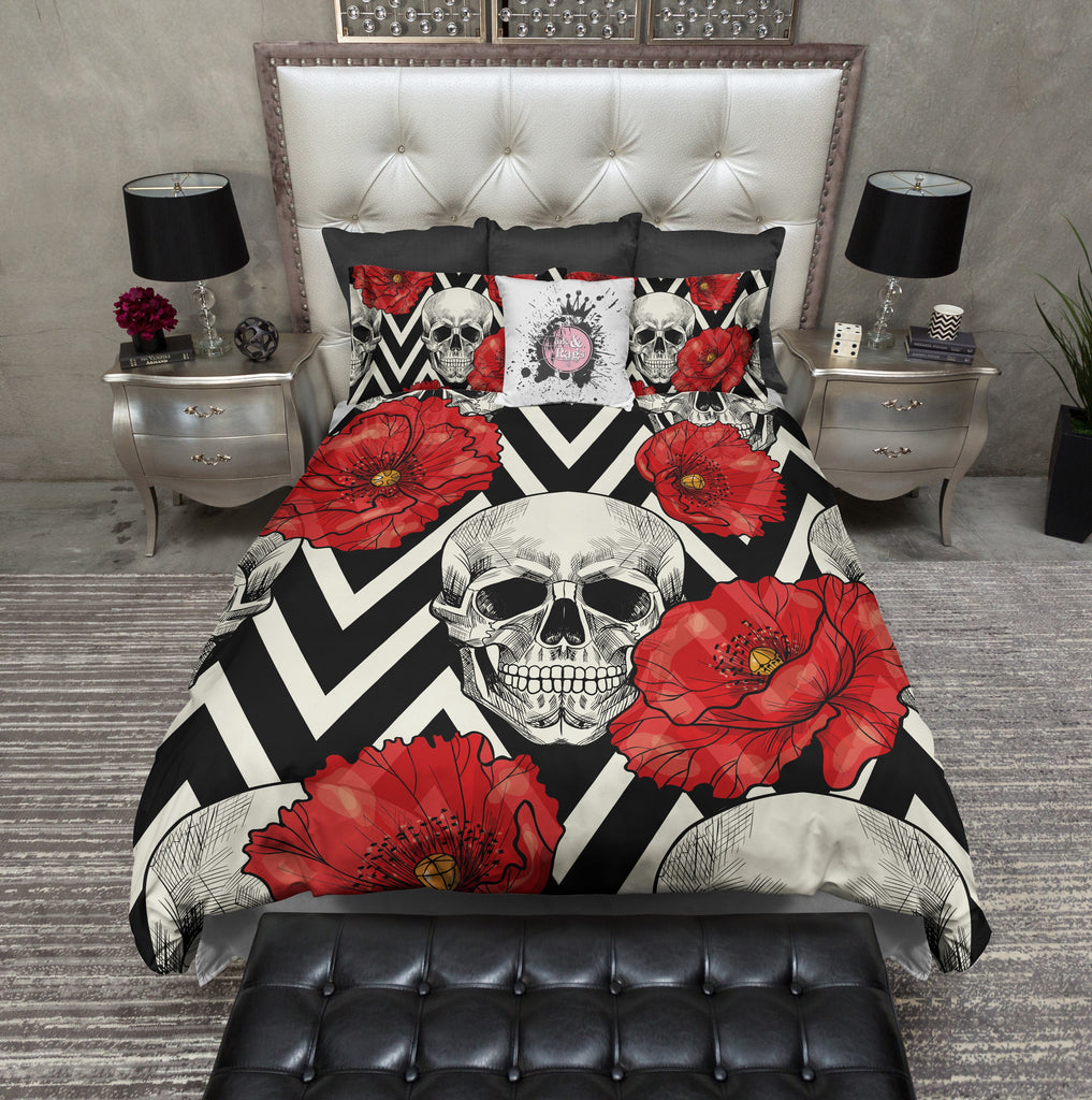 Red Poppy Chevron Stripe Skull Bedding CREAM