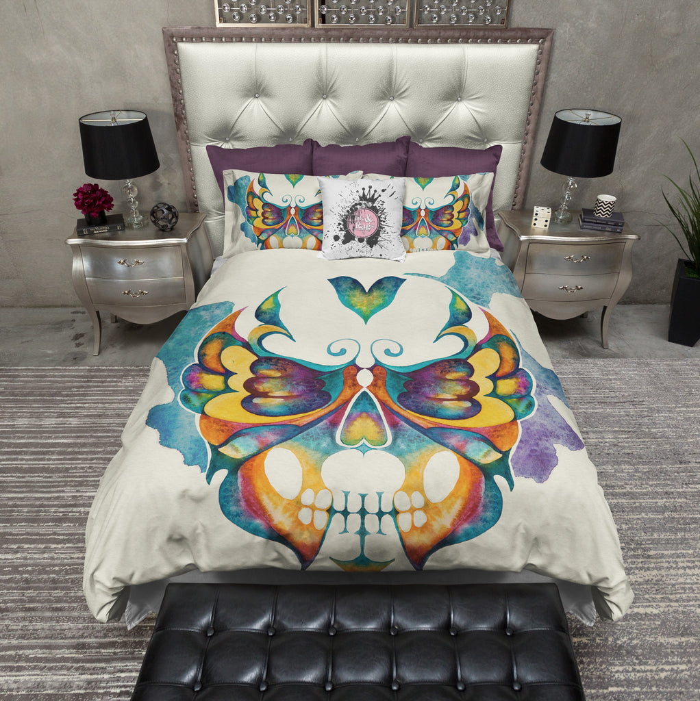 Watercolor Butterfly Skull Duvet Bedding Sets