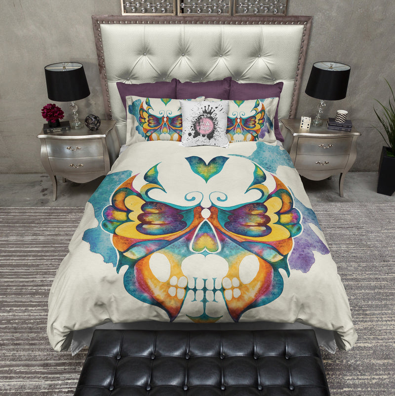 Watercolor Butterfly Skull Bedding CREAM