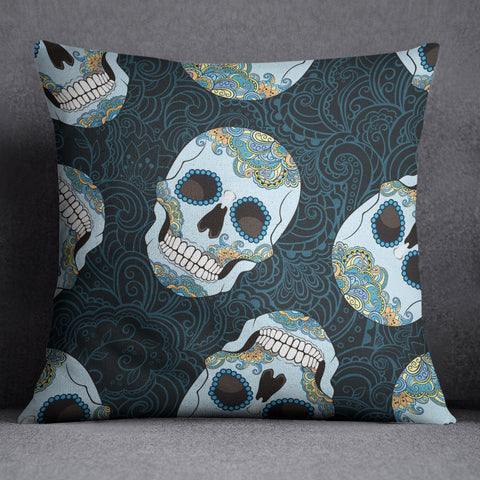 Blue and Gold Sugar Skull Throw Pillow