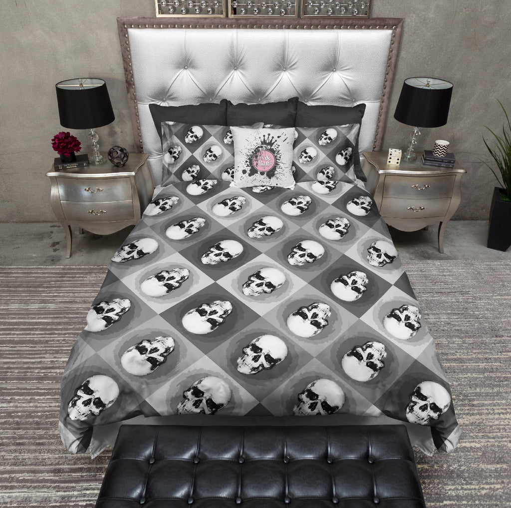 Black and White Warhol Inspired Skulls Bedding Collection