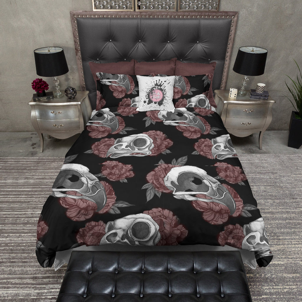 Gothic Maroon Peonies and Bird Skulls Bedding