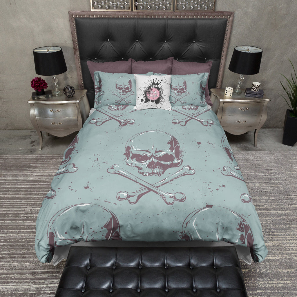 Grunge Skull and Crossbone Duvet Bedding Sets