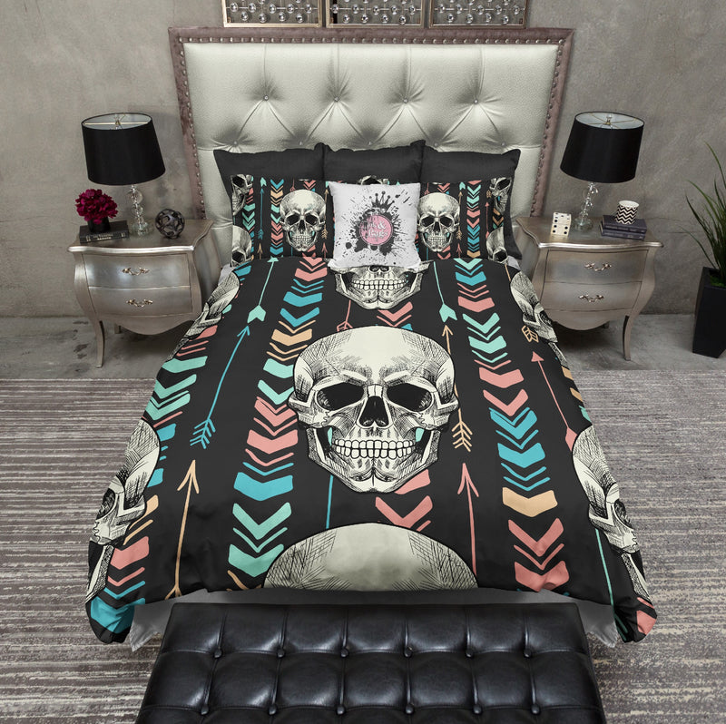 Boho Arrow and Chevron Skull Bedding