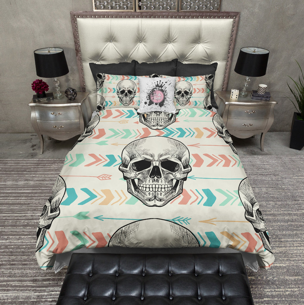 Boho Arrow and Chevron Skull Duvet Bedding Sets