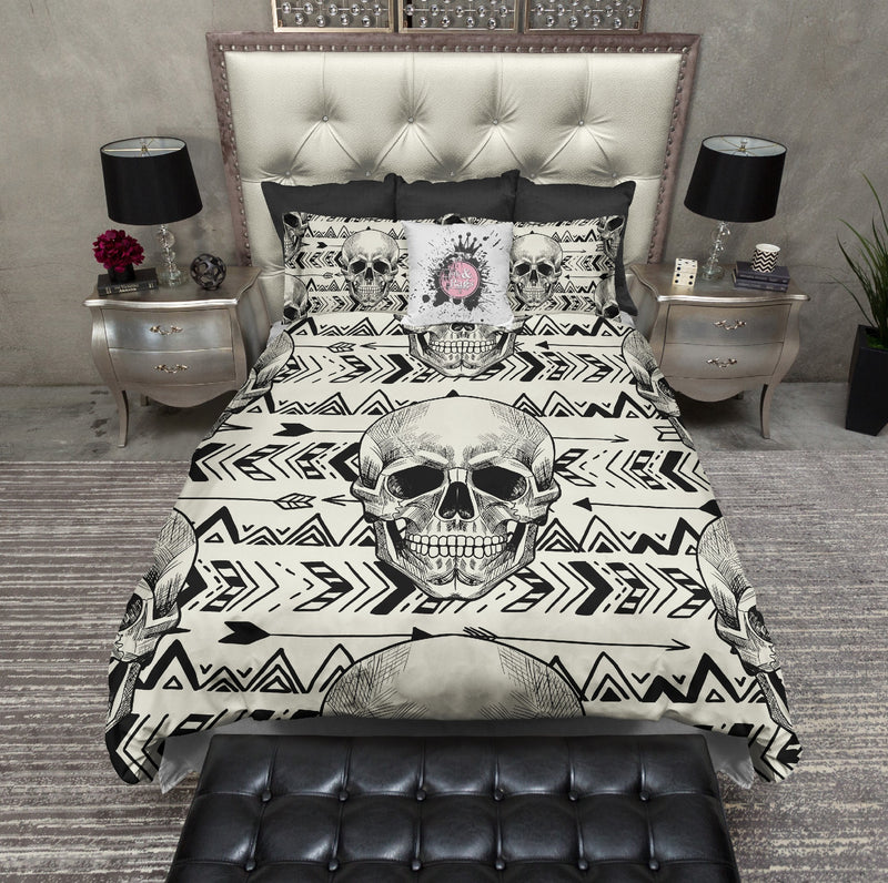 Boho Black Arrow Chevron Skull Bedding CREAM
