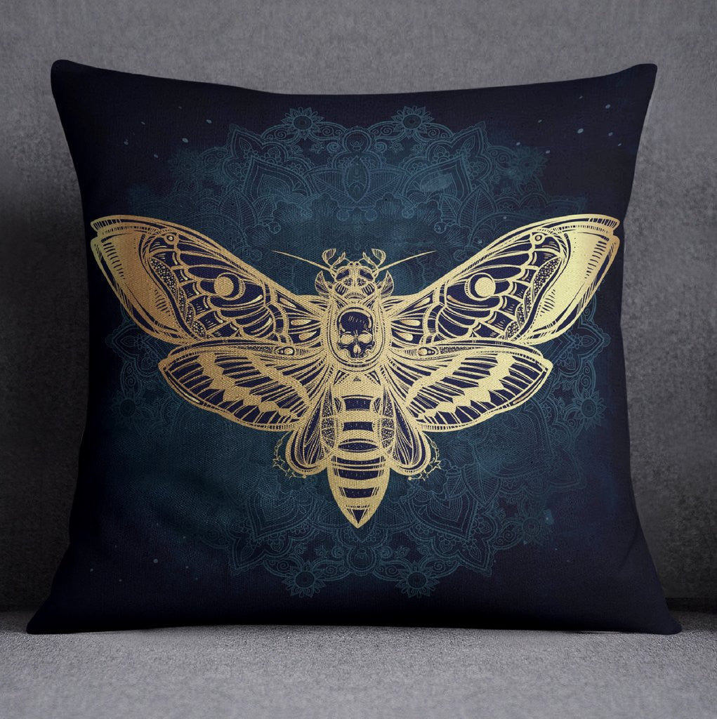 Midnight Mandala Death Moth Throw Pillow