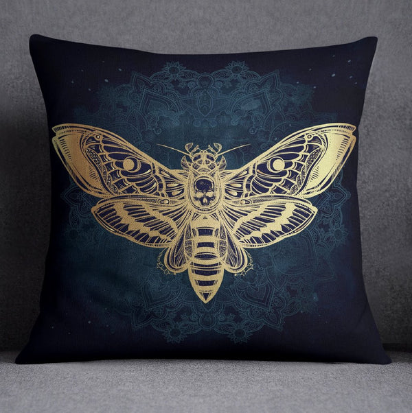 Midnight Mandala Death Moth Decorative Throw Pillow Cover