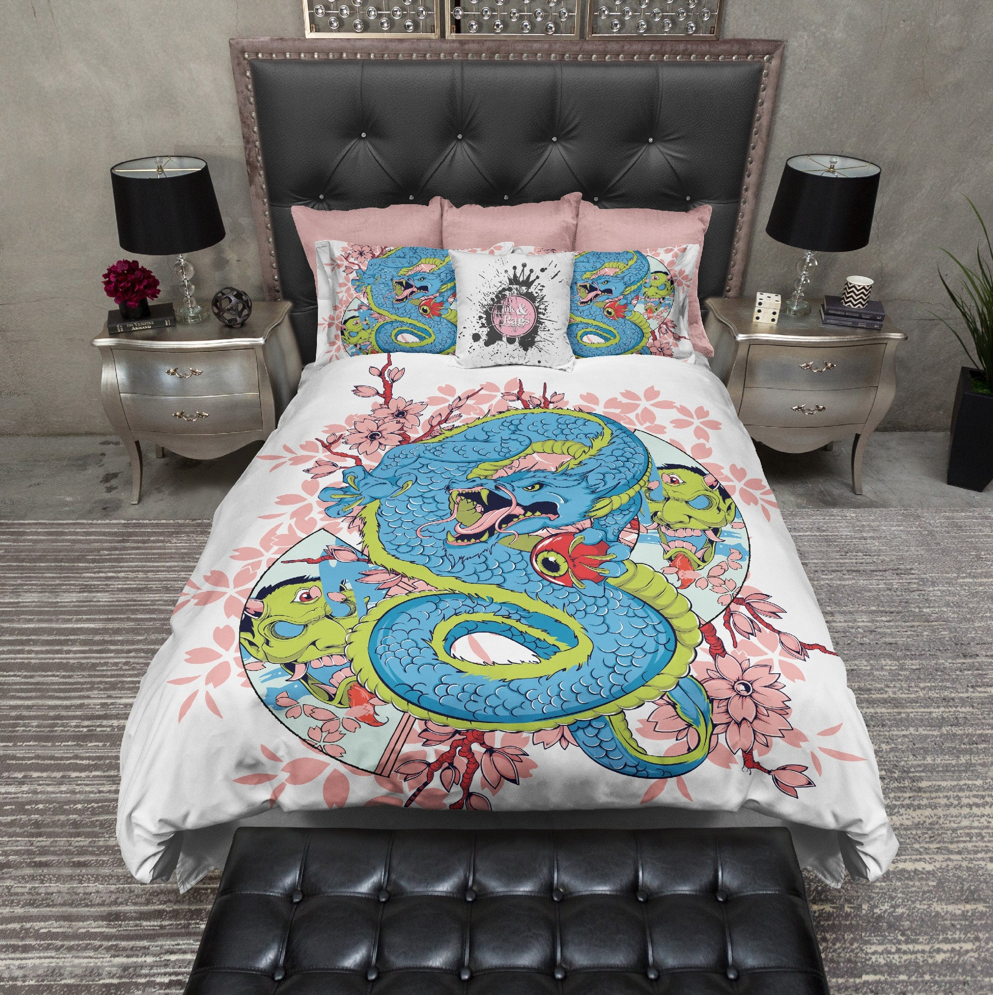 Third Eye Cherry Blossom Dragon Skull Duvet Bedding Sets