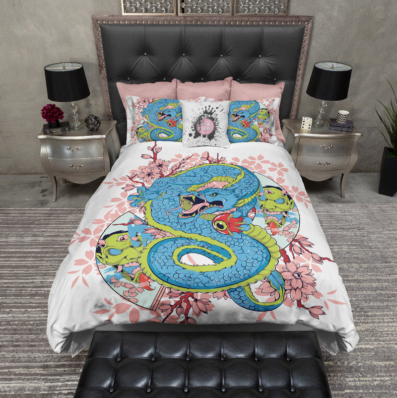 Third Eye Cherry Blossom Dragon Skull Bedding
