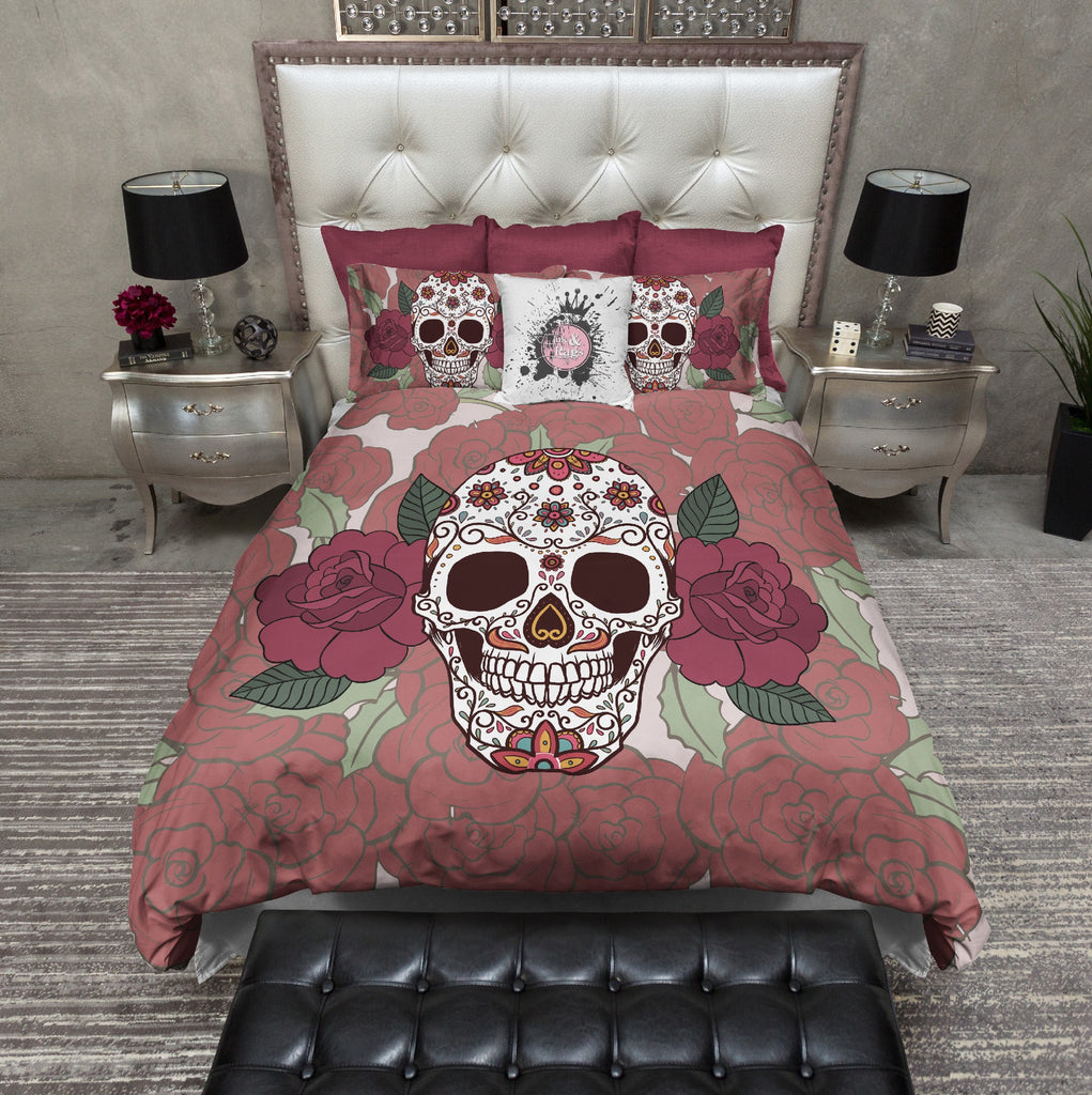 Double Rose Sugar Skull Bedding Collection