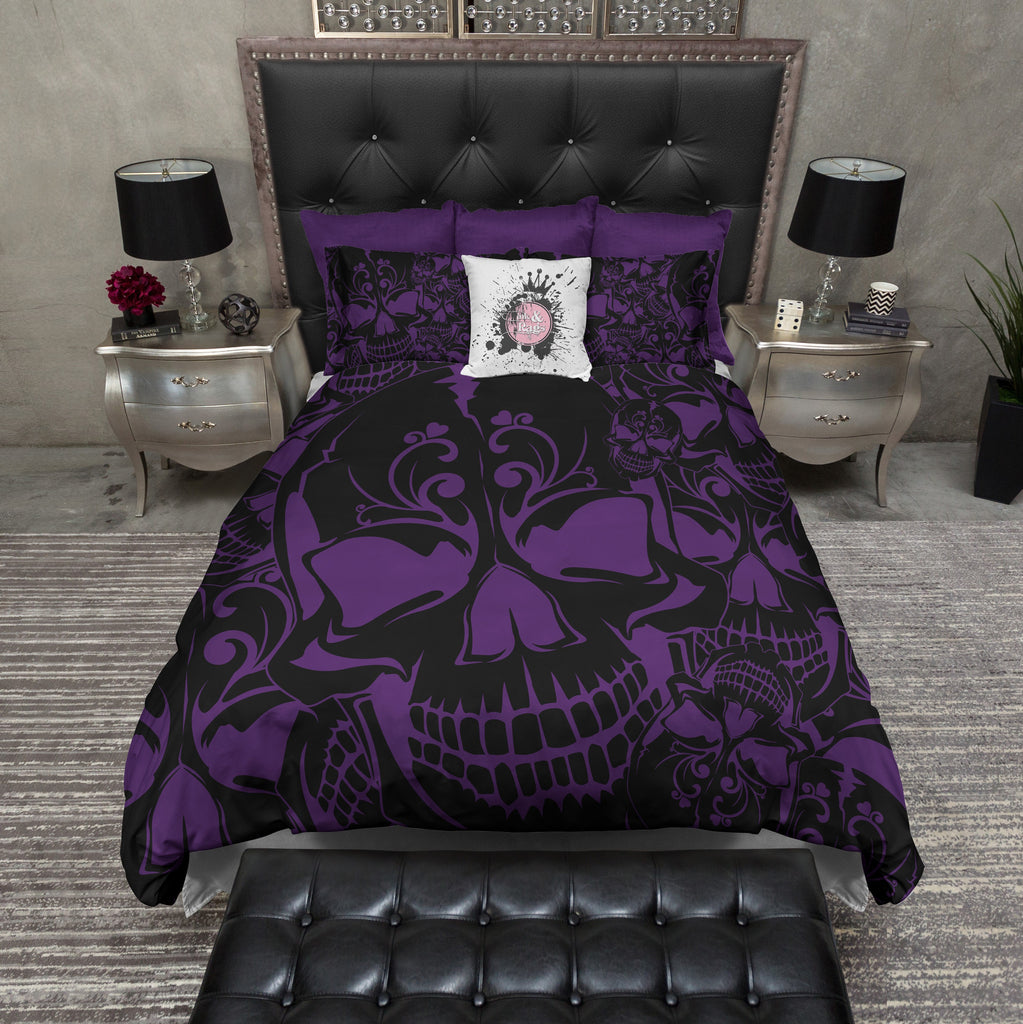 Purple and Black Collage Skull Bedding Collection