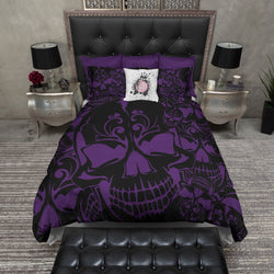 Purple and Black Collage Skull Bedding