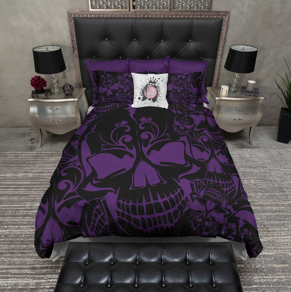 Purple And Black Collage Skull Bedding Ink And Rags